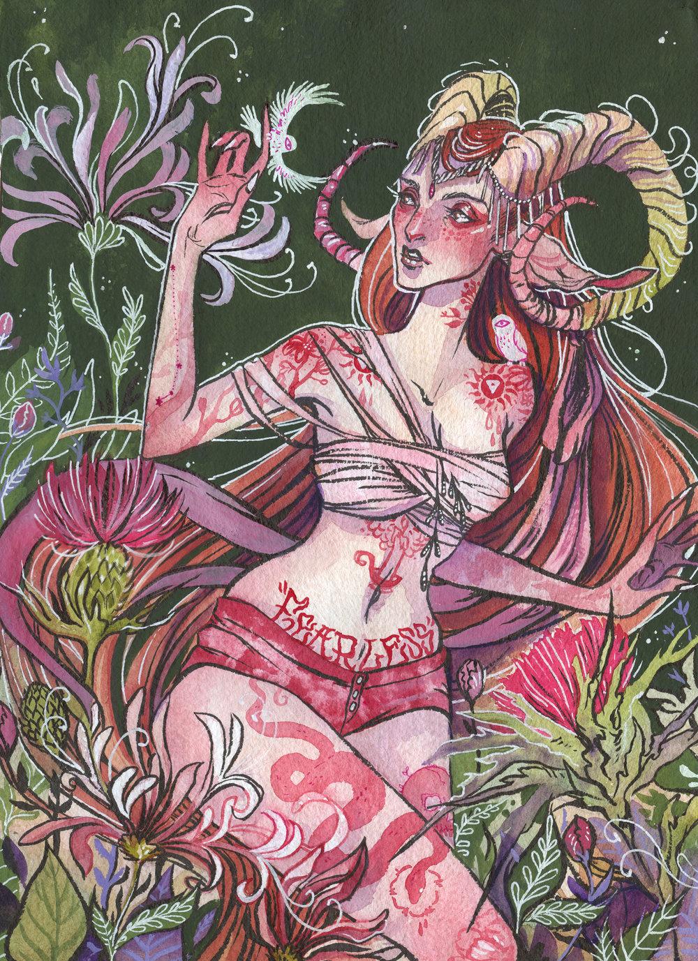 Aries - Gouache + Watercolour