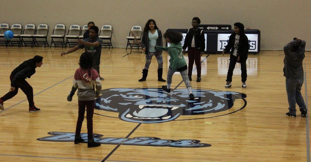 The Scholars having fun with Kendrick Trogdon during Rec Time.