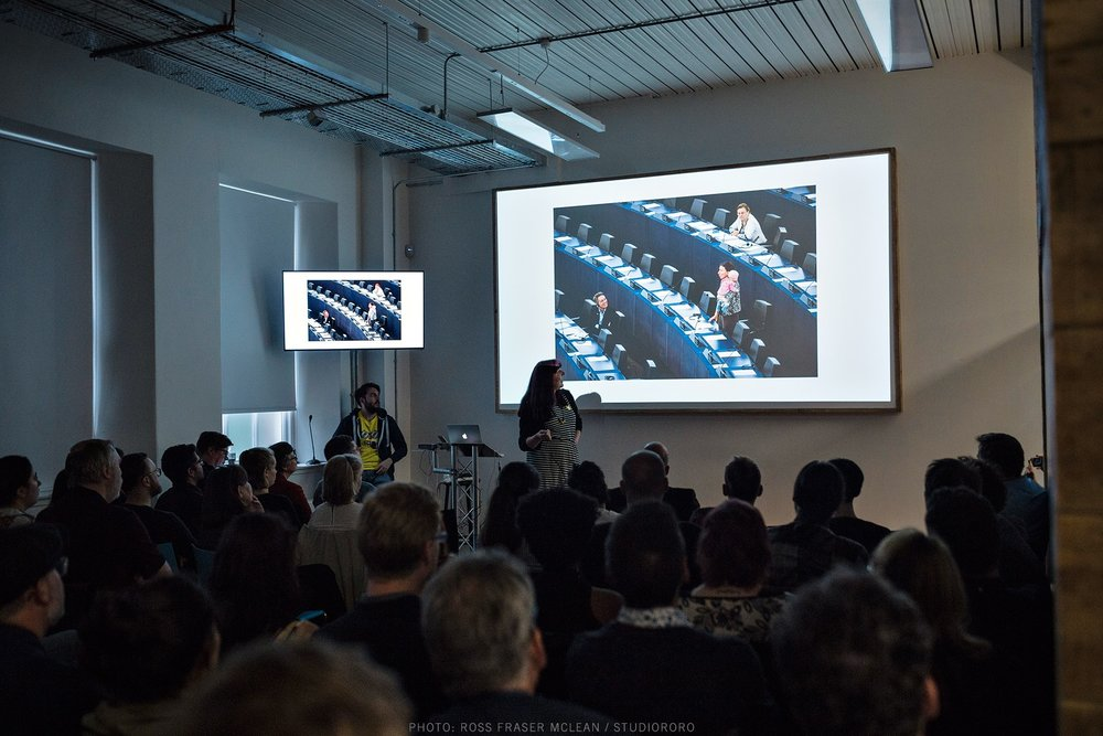 Presenting at Creative Edinburgh, Talking Heads S.T.E.A.M.ers event , Whitespace, Edinburgh 2016    Photo by Ross Fraser Mclean