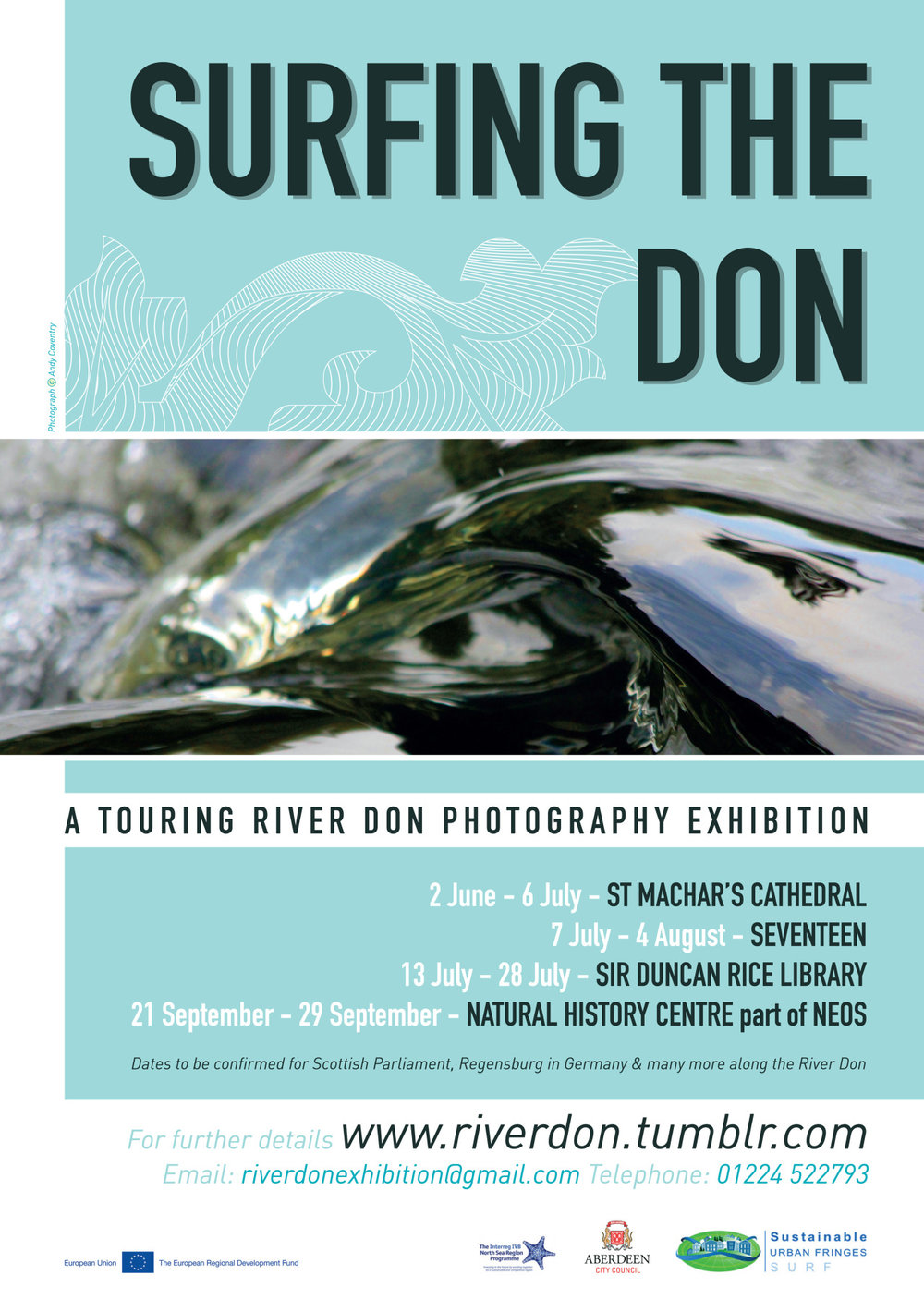 Lead artist, curator and project co-ordinator for 'Surfing the Don' working with Aberdeen City Council and community groups to bring together and tour a photography exhibition celebrating Aberdeen's River Don. Extensive community participation, supporting contibuting photographer, arranging TV and press interviews, producing a publication, budget management, liaising with funders, securing exhibition venues and fundraising.