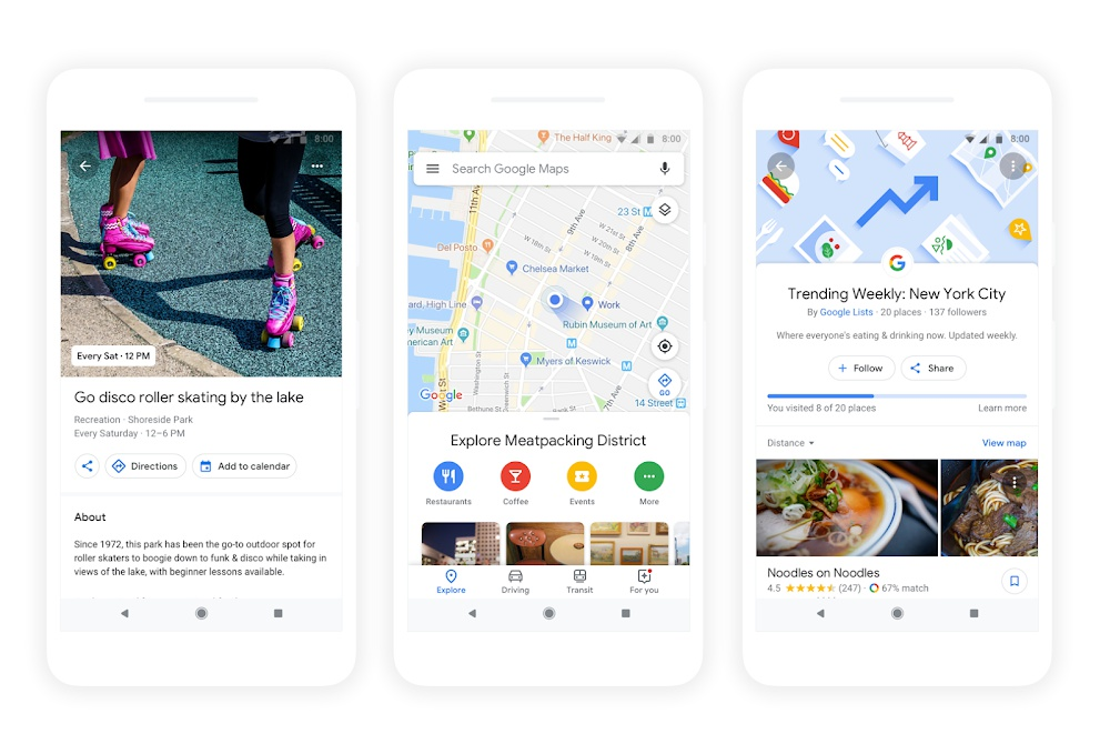 Google Maps Explore Feature