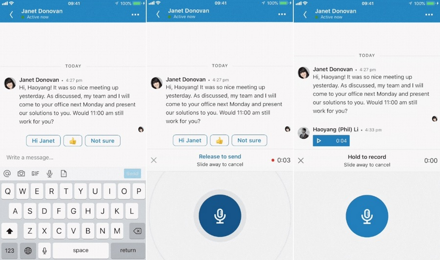 LinkedIn adds a new voice messaging feature