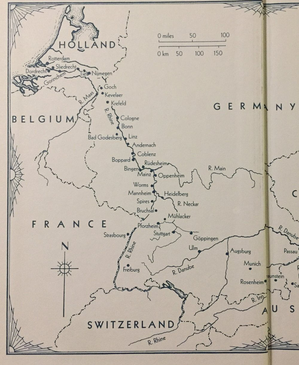 Map taken from The Folio Society edition of   A Time of Gifts   by Patrick Leigh Fermor