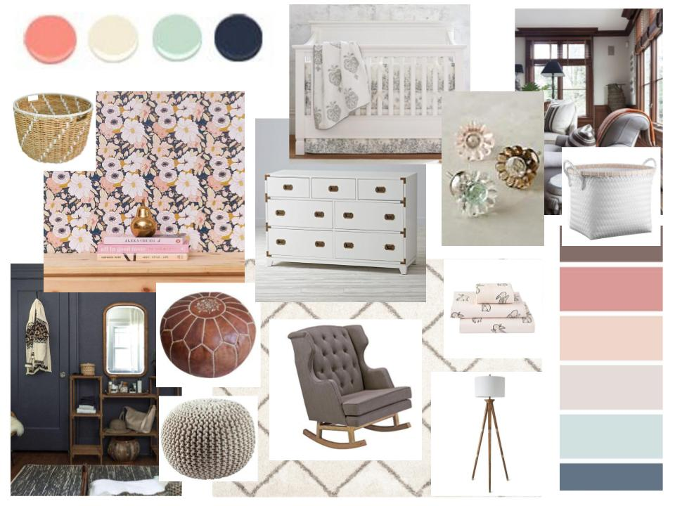 Sources, listed left to right:    Rattan storage basket  //  Wallpaper  //  Dresser  //  Crib  //  Knobs  //  White storage basket  //  Lea  ther pouf  //  Rope pouf  //  Rocker  //  Rug  //  Bedding  //  Lamp