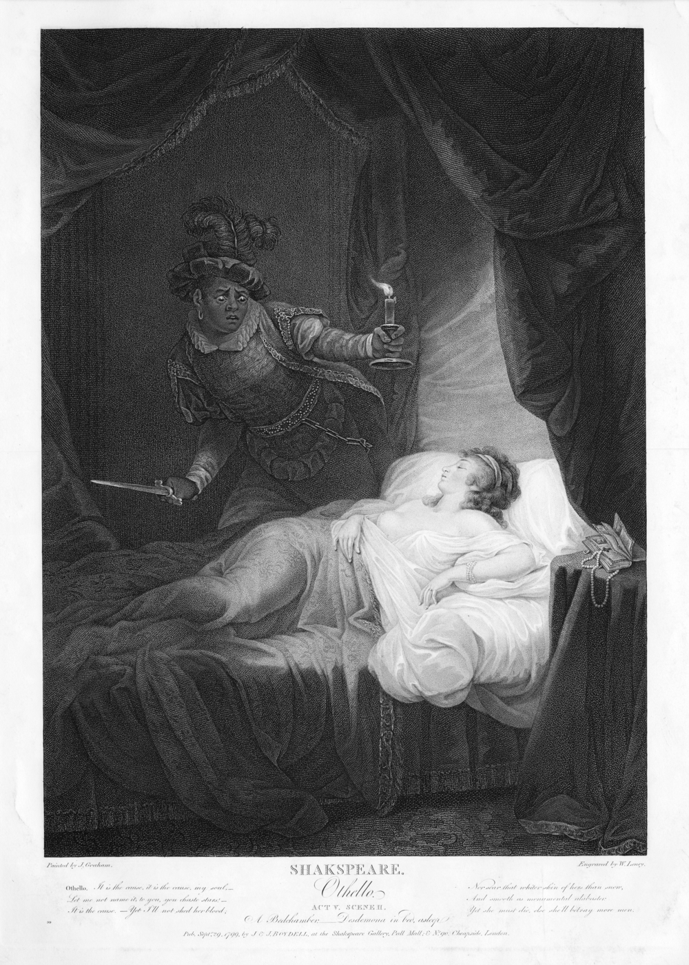 """""""Shakspeare; Othello; Act V, Scene II; A bedchamber; Desdemona in bed asleep"""", by J. D. Graham, 1799. This public domain print appears courtesy the New York Public Library Digital Collections."""