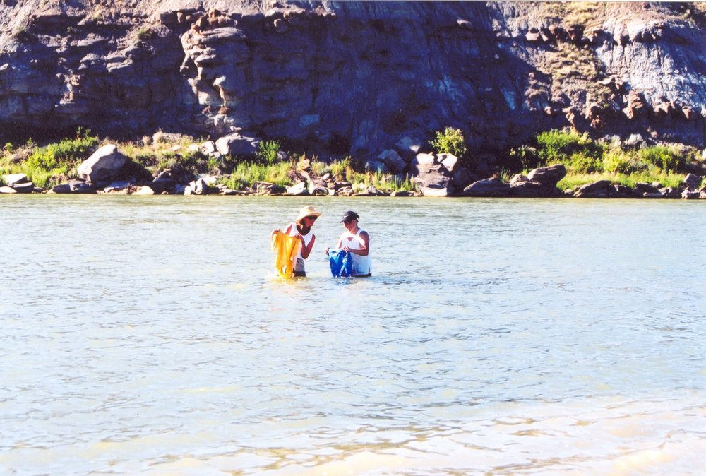 Becky and Jean - ODYSSEY TOURS: THE DISCOVERY TOUR -  July 15, 2003 , near the Upper Portage of the Missouri River near Great Falls, Montana. [The Lewis & Clark Expedition -  June 19, 1805 ]