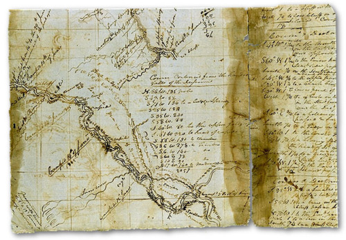 William Clark's map -  His mileage readings were remarkably accurate