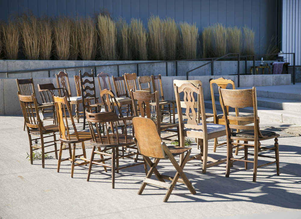 Mismatch wooden chairs ceremony