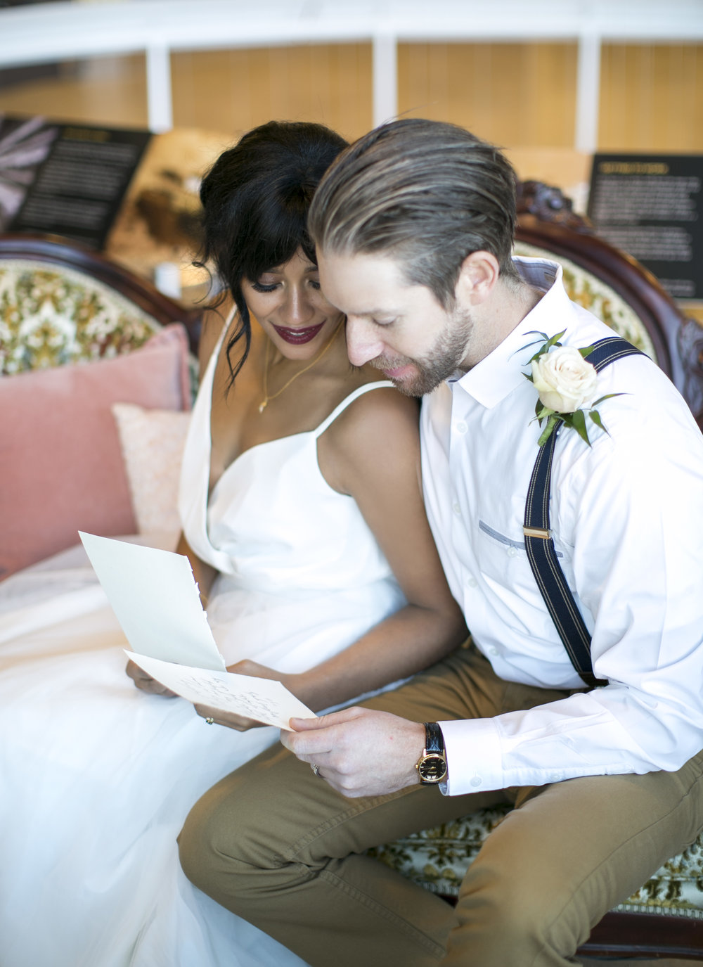 Reading vows in the lounge