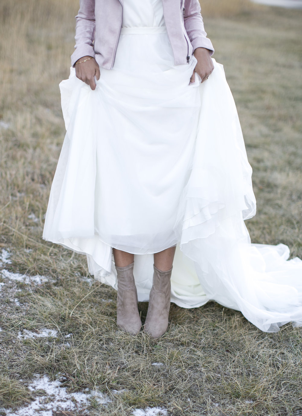 booties and jacket bride
