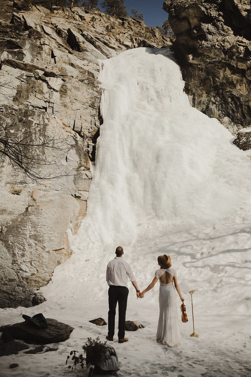 frozen waterfall elopement