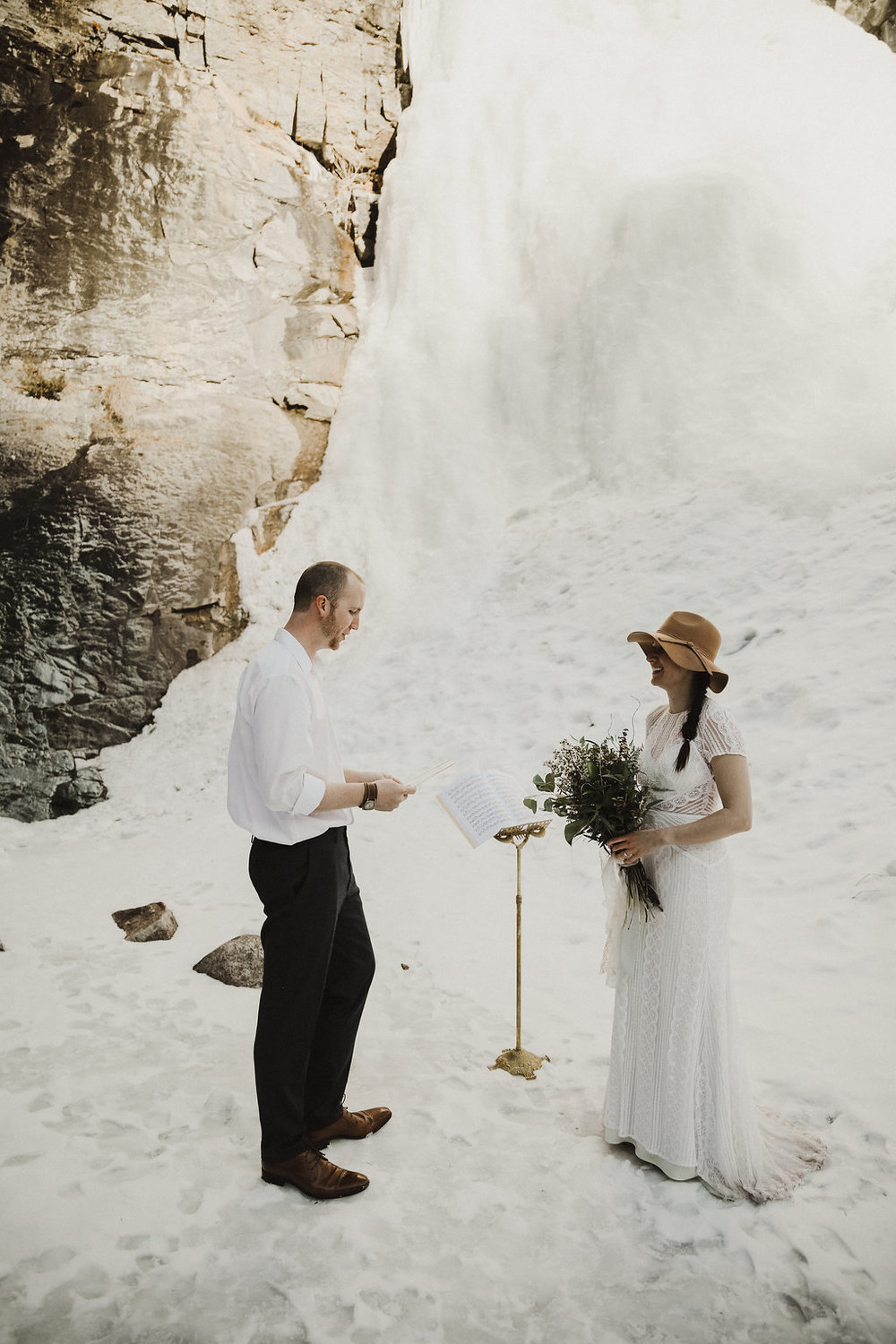 frozen waterfall black hills elopement