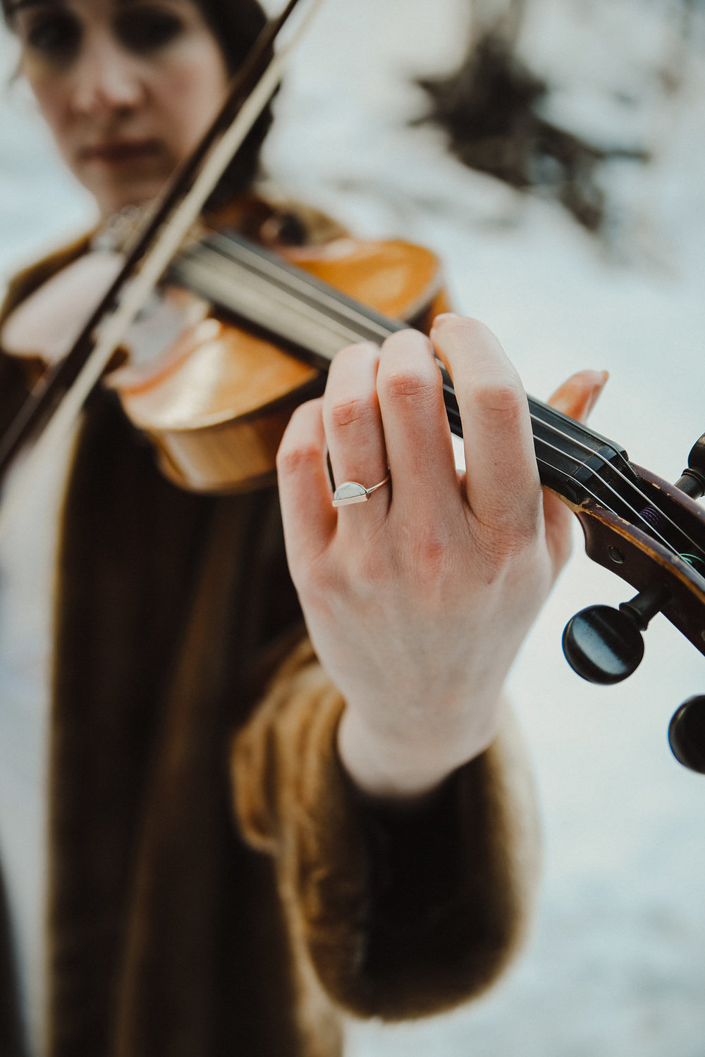 violin winter bride