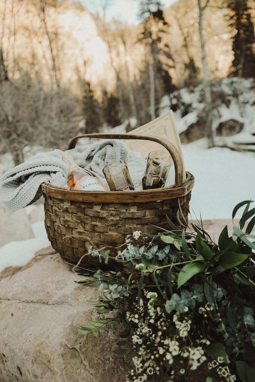 winter elopement picnic black hills