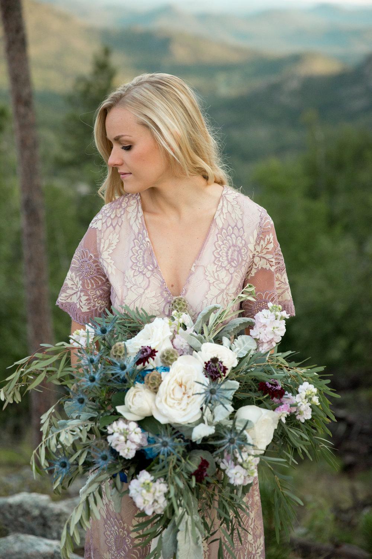 sunrise Black Hills elopement dress