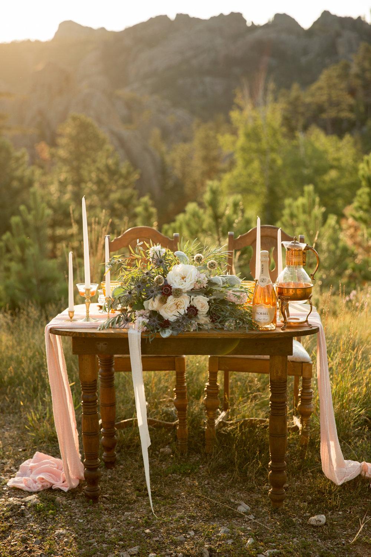 Black Hills elopement tablescape