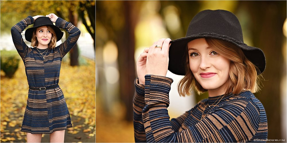 Senior girl in stylish dress and hat