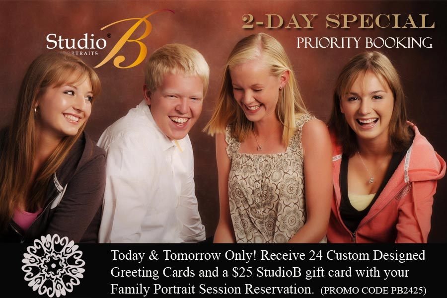 FAMILY PORTRAIT Priority Booking 2-day sale at studio b