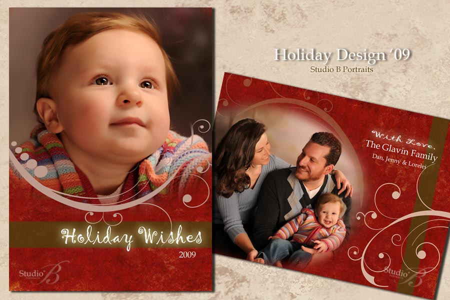 holiday family portraits and greeting cards at studio b portraits