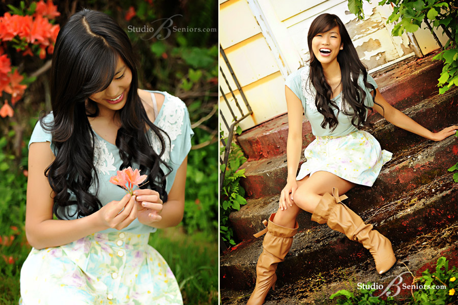 Outdoor--high-school-senior-pictures-of-Chinese-teenager-on-stairs-with-flowerLu_4003