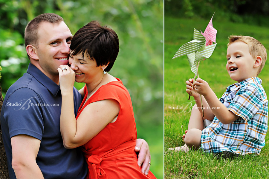 Cute-couple-laughing-and-son-with-paper-pinwheel-at-Studio-B-Portraits-in-Issaquah