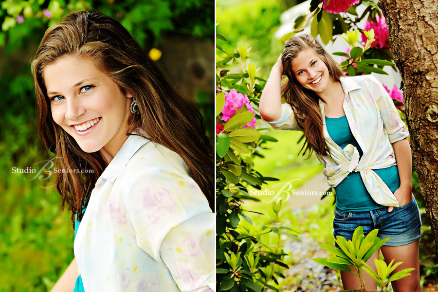 Overlake-High-School-Outdoor--high-school-senior-pictures-of-teenager-with-flowers near Bellevue WA