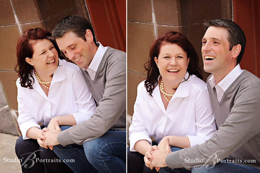 Cute-married-couple-laughing-on-the-steps-in-Issaquah-WA-photographed-at-Studio-B-