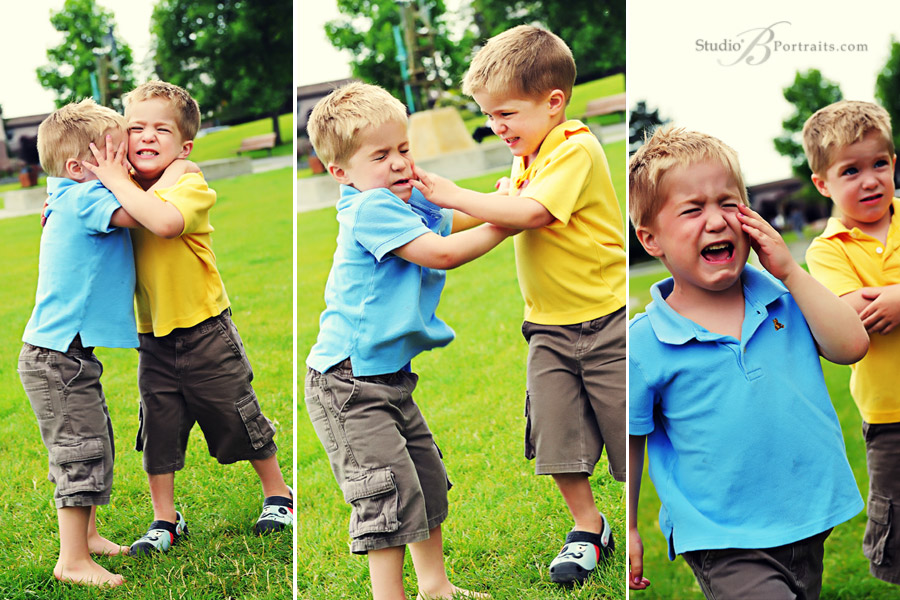 Twin-brothers-fighting-during-photo-shoot