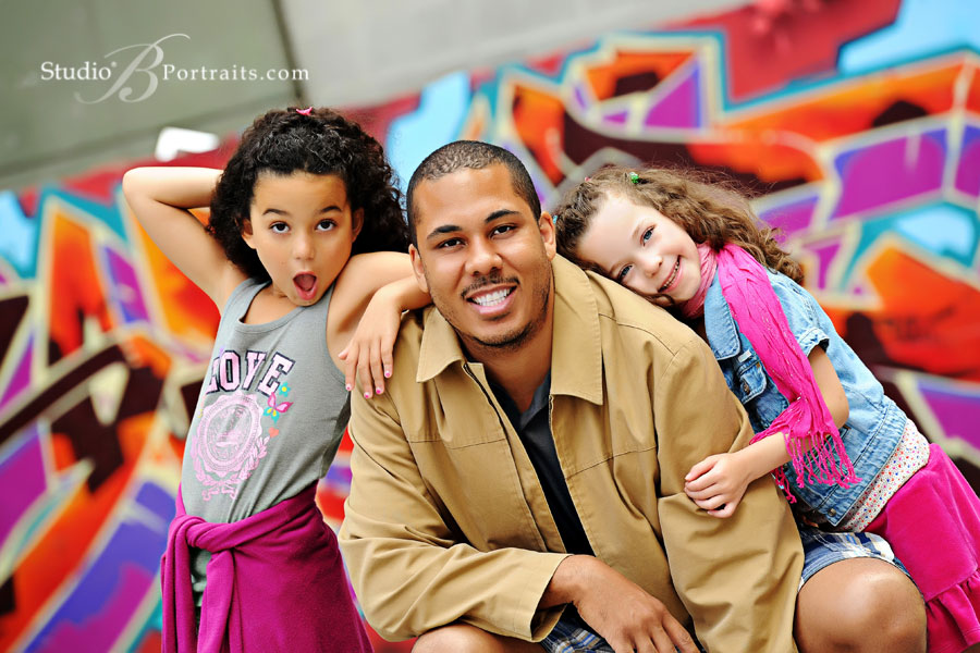 Colorful-Family-portraits-of-Dad-with-daughters-in-Seattle-photographed-by-Studio-B-Issaquah