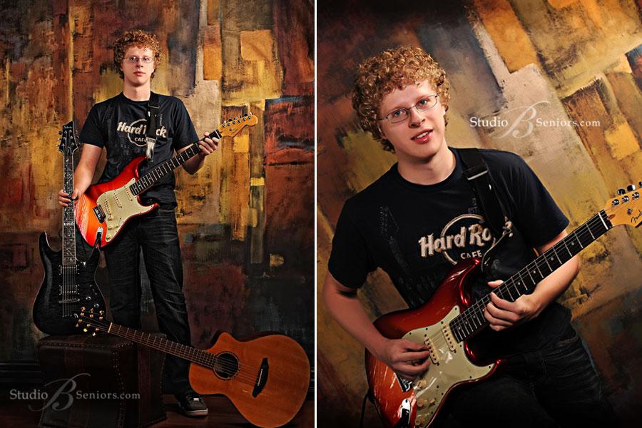 Cool-Eastlake High School Boy-Senior-Pictures-at-Studio-B-with-Strat-guitars