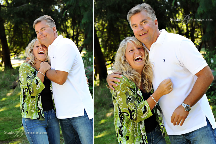 Couple-playfully-hugging-in-the-park-during-family-portraits-in-Issaquah