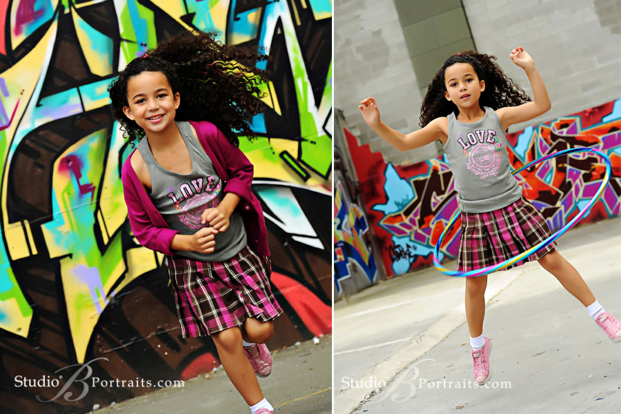 Professional-childrens-portraits-of-little-african-american-girl-running-and-hoola-hooping