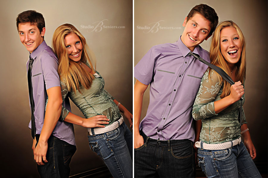 Professional-portrait-studio-pictures-of-boy-and-girl-sister-and-brother-during-senior-pictures-at-Studio-B-in-Issaquah-laughing