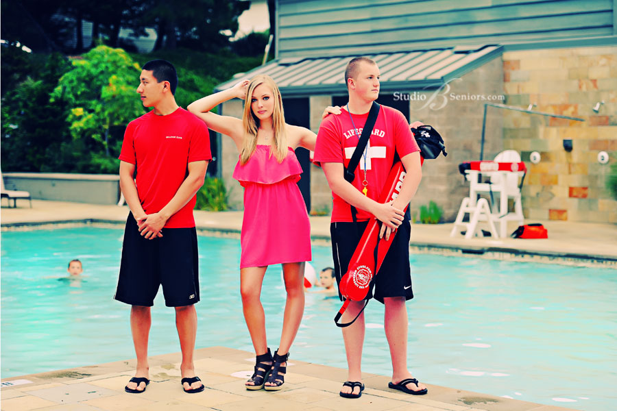 Skyline-High-School-Senior-pictures-by-the-pool-with-boy-lifeguards-in-fashion-shoot-at-Bellevue-Club-by-Studio-B-Portraits-in-Issaquah