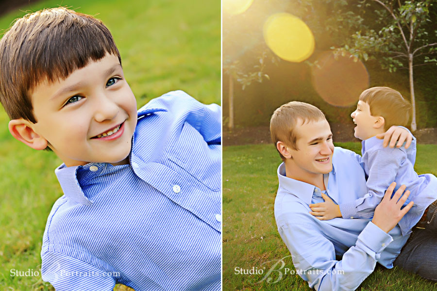 Brothers-wrestling-on-the-lawn-in-Bellevue-WA-for-family-portraits
