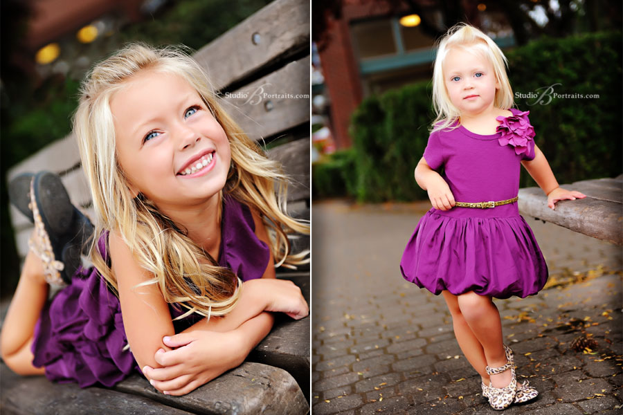 Pretty-little-blond-sisters-in-stylish-purple-dresses-and-leopard-shoes-for-family-portrait