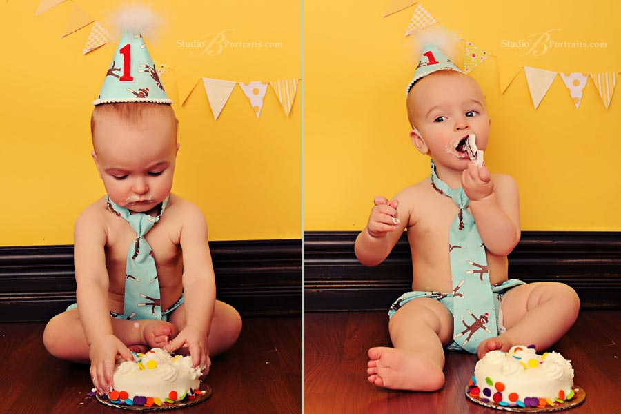 Baby-eating-cake-during-photo-shoot-at-Studio-B-in-Issaquah