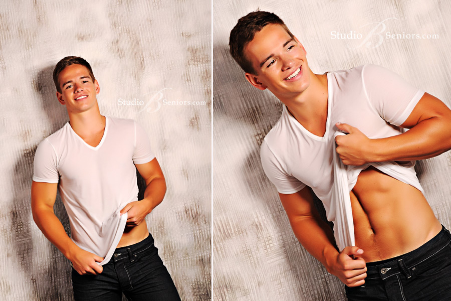 Cool-boy-senior-pictures-of-athletic-guy-smiling-in-white-t-shirt-at-Studio-B-Portraits