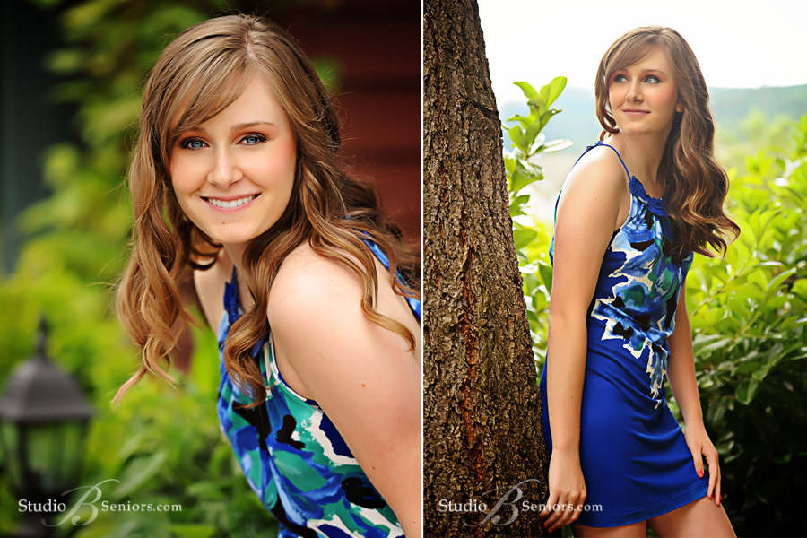 High-School-senior-pictures-of-Mercer-Island-girl-in-blue-floral-dress