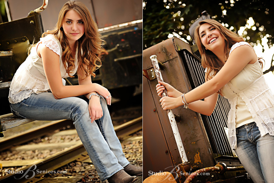 Senior-pictures-of-Bellevue-High-School-girl-on-train-in-Issaquah-near-Seattle