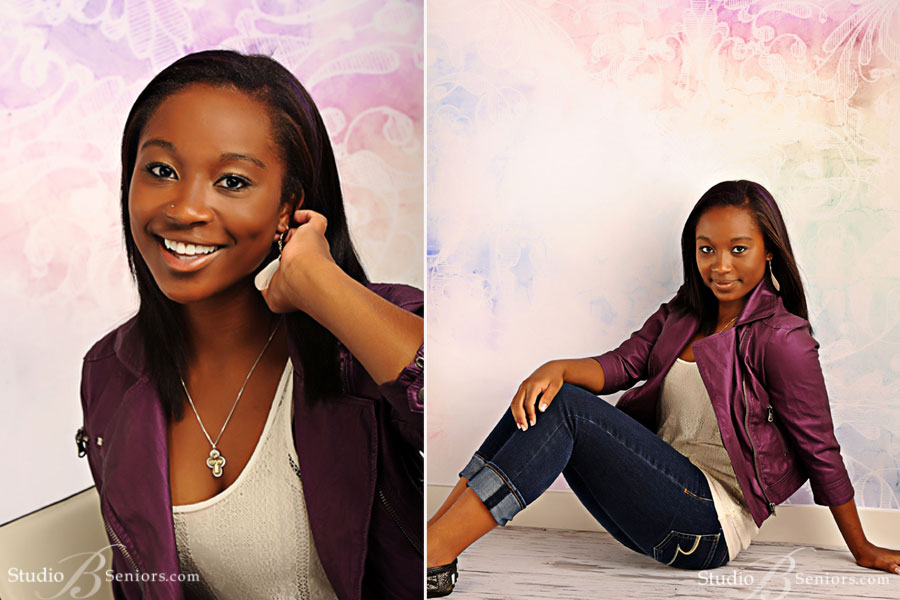 High-school-senior-pictures-at-Studio-B-Portraits-near-Seattle-of-African-American-girl in purple leather jacket