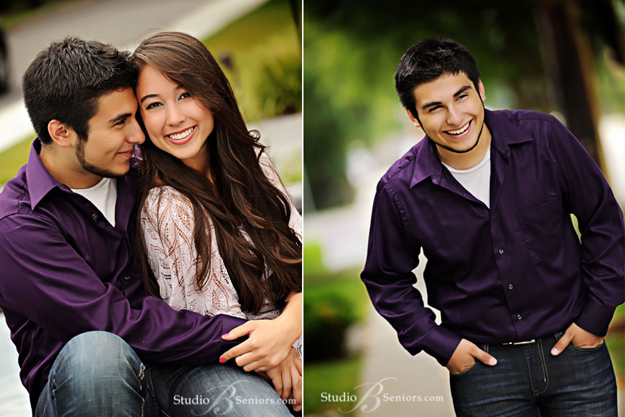 High-school-senior-pictures-of-Mexican-boy-and-Asisan-girl-laughing-during-photo-shoot