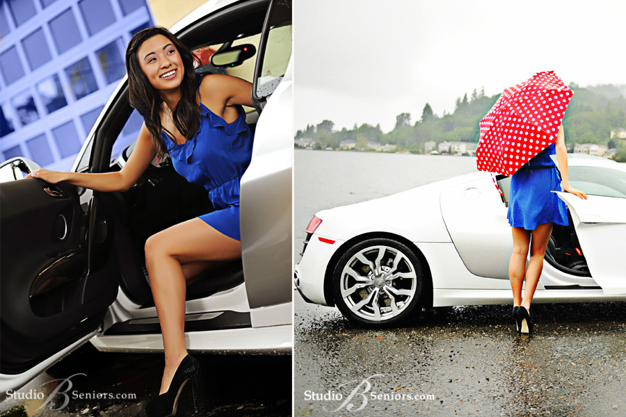 Issaquah-high-school-senior-getting-out-of-Audi-R8-in-the-Rain