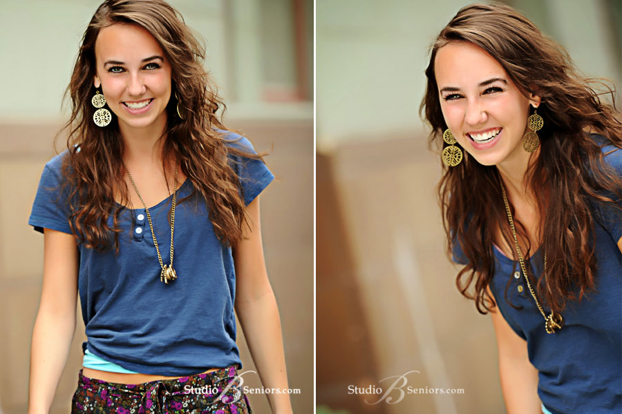 Outdoor-senior-pictures-of-Mount-Si-High-Shcool-Senior-girl-laughing-and-walking-down the street