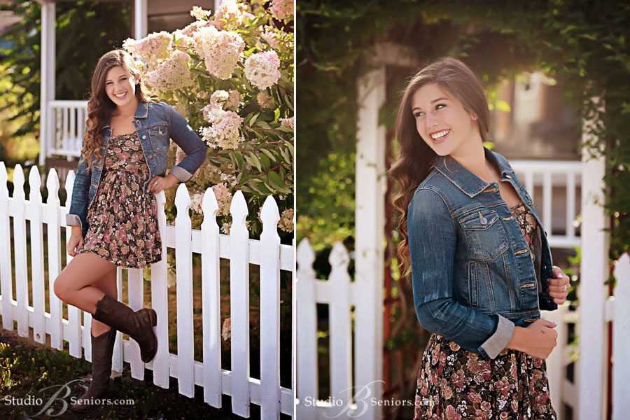 Best-High-School-Senior-Pictures-of-Bellevue-High-School-pretty-girl-in-cowboy-boots-by-flowers-at-Studio-B