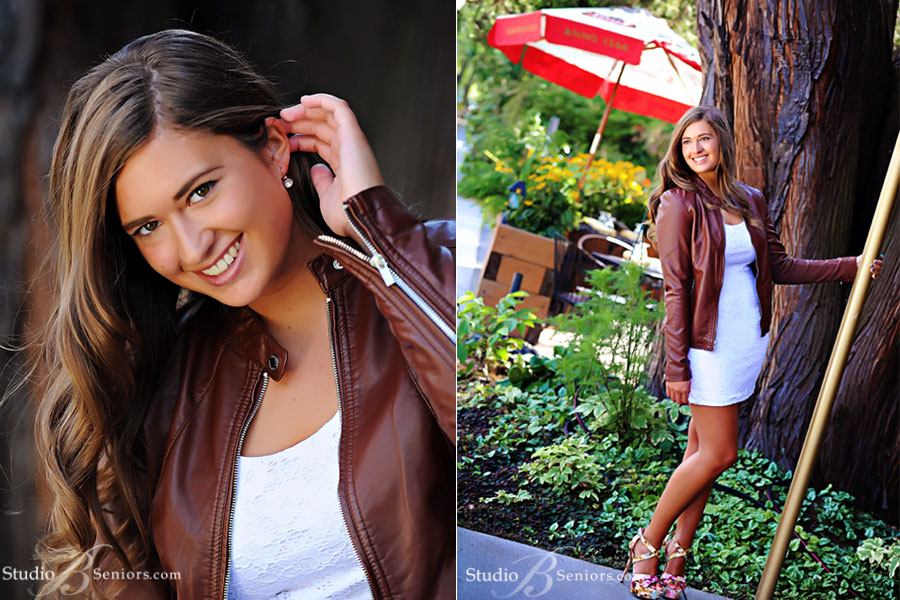 Best-Senior-Pictures-in-Bellevue-of-Mercer-Island-High-School-girl-photographed-outdoors-in-leather-jacket-at-Studio-B