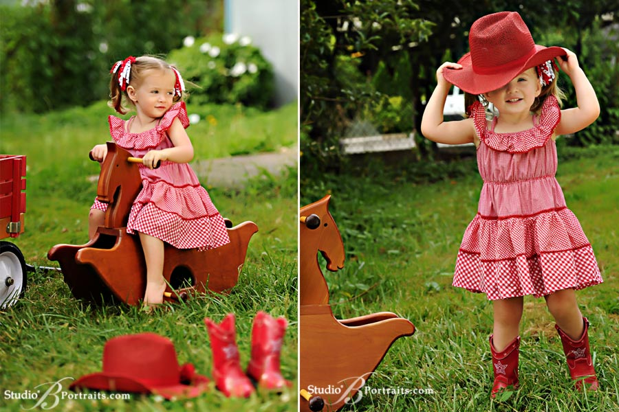 Best-childrens-photographer-in-Seattle-of-gingham-dress-and-cowboy-boots-on-wood-rocking-horse-with-pretty-2-year-old-girl-at-Studio-B-in-Issaquah