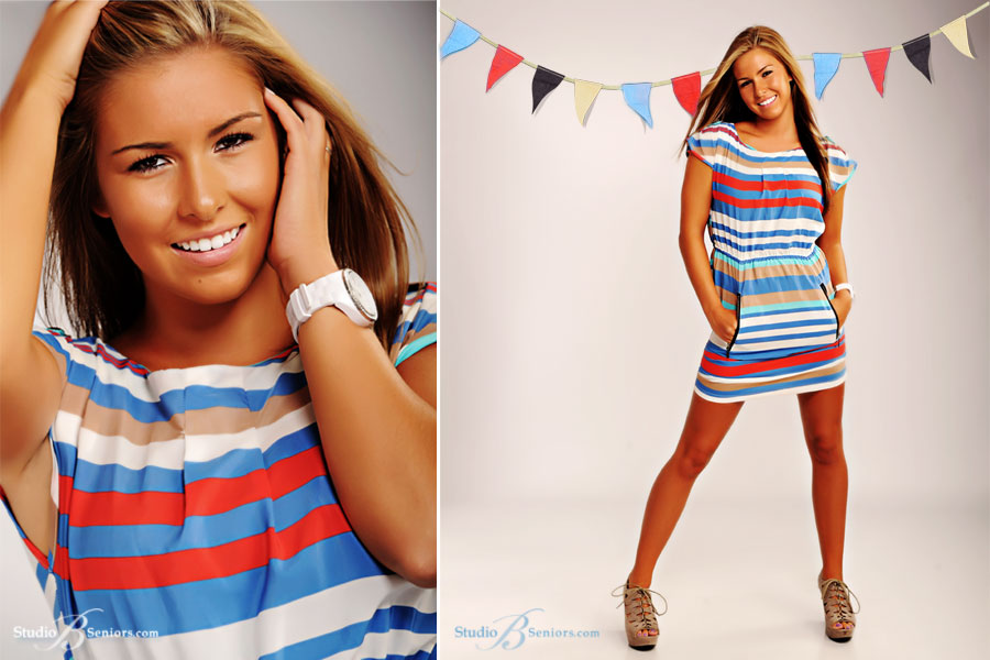 Best-senior-pictures-in-Seattle-of-Issaquah-High-School-senior-in-stripe-dress-at-Studio-B