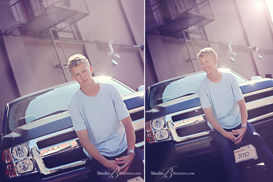 Best-senior-pictures-in-Seattle-of-cool-boy-sitting-on-truck-outside-in-Issaquah-near-Bellevue
