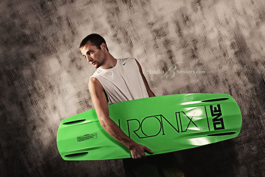 Best-high-school-senior-pictures-of-guy-with-wake-board-at-Studio-B-Portraits-in-Issaquah